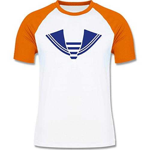 Karneval & Fasching - Matrose Kostüm Kragen - zweifarbiges Baseballshirt für Männer Weiß/Orange