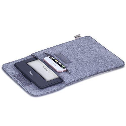 MoKo Universal 6 Zoll Felt Sleeve Hülle - Tragbare Filz Schutzhülle Tasche für Tablets, Kobo Touch 2.0, Kobo Glo HD, Tolino Shine 2HD, Tolino Vision 3HD E-Book E-Reader, Verschluss mit Druckknopf, Hellgrau