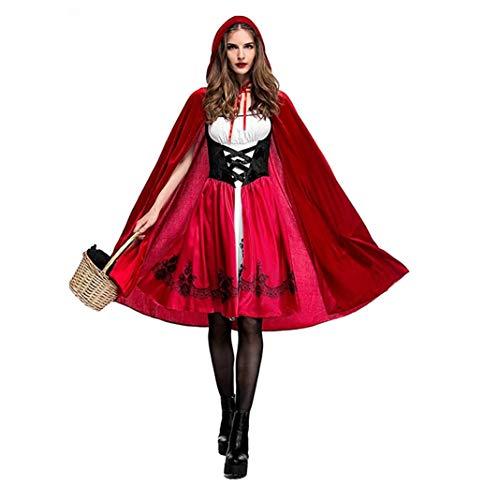 Halloween Abbigliamento Cappuccetto Rosso Sexy Rosso Mantello Gonna per Festa Halloween Mascherata Carnevale Cosplay (S)