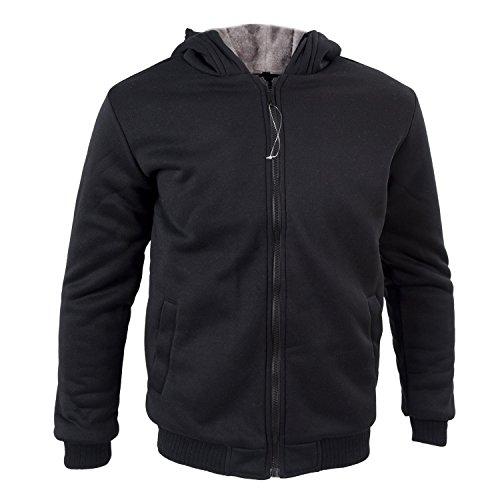 SODIAL (R) 2015 Nuovo Uomo Felpe Giacche invernali velluto spesso con cappuccio zip cappotto Nero Taglia L