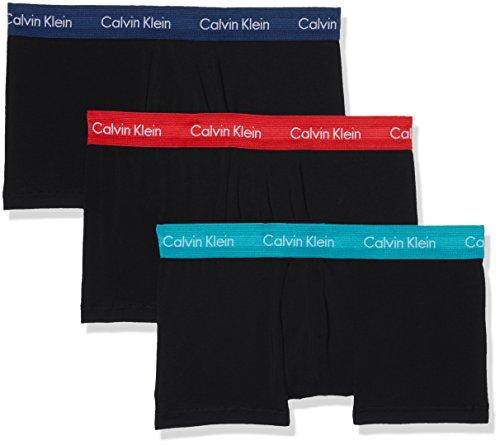 Calvin Klein Herren Boxershorts Low Rise Trunk 3PK, 3er Pack, Schwarz (Black W/Genoa/Black W/Red Heat/Black Wwd), X-Large