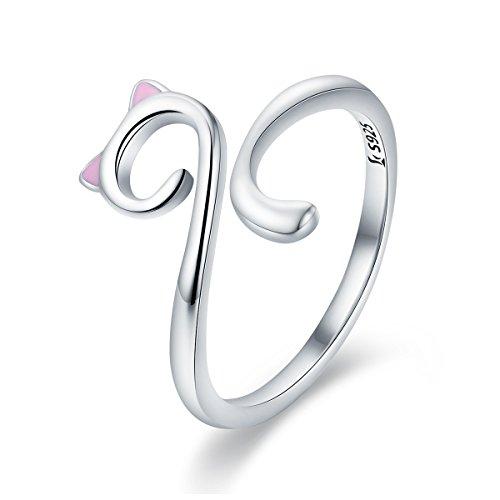 Mädchen-Katzen-Ringe aus 925 Sterlingsilber, süße Katze, verstellbar, Geschenk für Teenager Mädchen