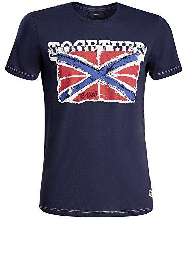 "oodji Ultra Herren Gerades T-Shirt mit ""Flagge"" Print Blau (7945P)"