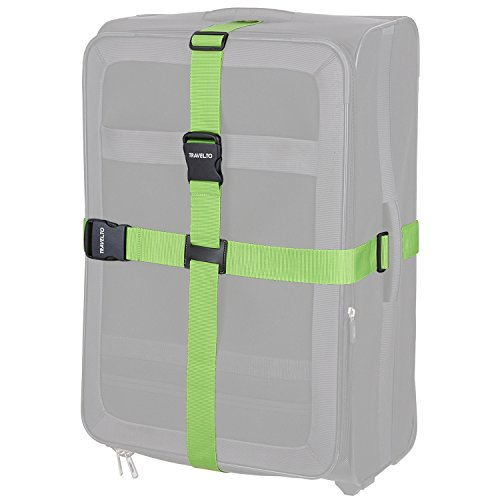 TRAVELTO 2-Wege-Gepäckgurt zum Verschließen und Kennzeichnen von Gepäck, Maße 5x200 cm und 5x230 cm (1 Stück), Neongrün, inklusive 2 Jahren Geld-zurück-Garantie - Koffer-Gurt Gepäck-Gurt