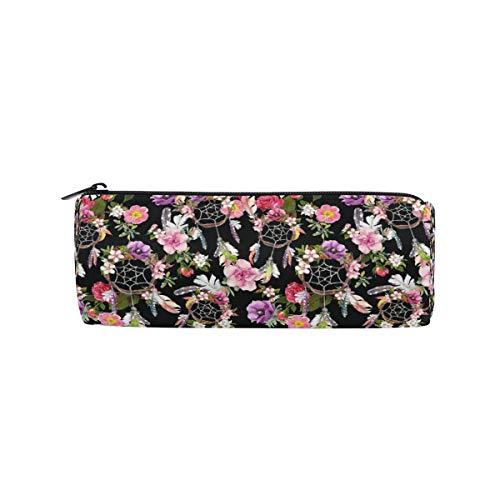 Ahomy - Estuche para lápices con cremallera, diseño de flores atrapasueños, para adolescentes y niños, bolsa de maquillaje de viaje para mujeres