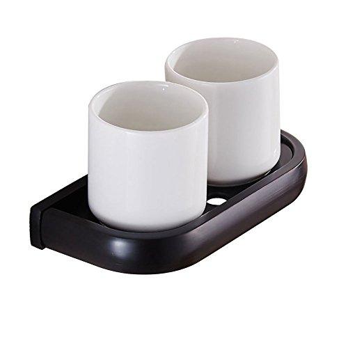 LongYu Badezimmer WC Doppel Glas Zahnbürste Becher Tumbler Halter Massivem Messing Öl eingerieben Bronze für Badezimmer & Küche -