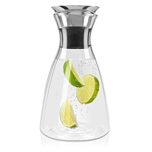 Navaris Glaskaraffe aus Borosilikatglas 1L Glaskrug - Wasser Karaffe mit Deckel - Glasbehälter Wasserkaraffe Wasserflasche - Tee Krug Ausgießer
