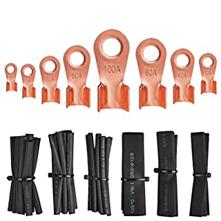 BUYGOO 245PCS Copper Lug Terminal Kit, OT 5A, 10A, 20A, 30A, 40A, 50A, 60A, 100A Wire Terminal Crimp Connectors(185PCS) + Black Heat-Shrinkable Tubing(60PCS) Open Barrel Copper Ring Lug Terminals Kit for Kinds of Wiring Work