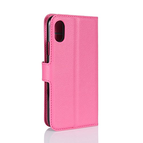 Qiaogle Telefon Case - PU Leder Wallet Schutzhülle Case für Apple iPhone X (5.8 Zoll)- FC04 / Rote Klassische Solid Color Geschäfts art FC06 / Rose Klassische Solid Color Geschäfts art