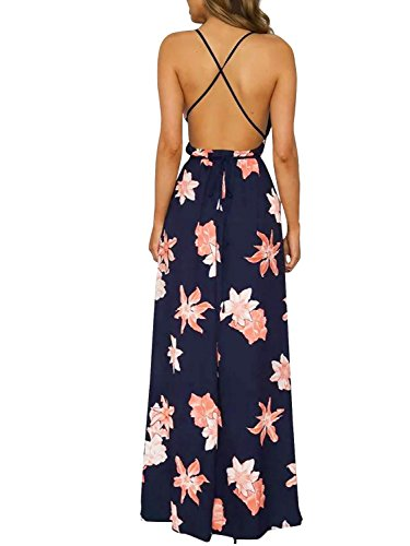 Missy Chilli Damen Partykleid Sexy Blumen V-Ausschnitt Rückenfrei Maxi Lang Träger Kleid Abendkleid Strandkleid Blau Blau