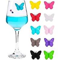 falllea 10 Piezas de Marcadores de Copa de Vino Mariposa Marcadores de Silicona para Copas de Vino Marcador de Vidrio de Vino en Forma de Mariposa para Bar Hogar