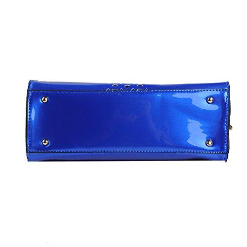 Kingcore Sac à main en cuir verni avec creux pour Commuter Sacoche à bandoulière et sac Format carte postale Blue