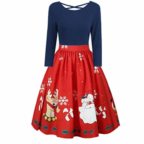 Femmes Mode Manches longues Plus la taille Noël Imprimer Criss Cross Swing robe de fête Bleu foncé
