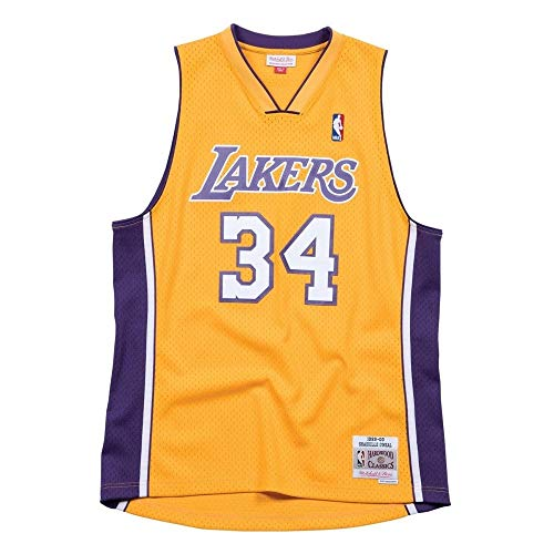 Mitchell & Ness Shaq O'Neal #34 Los Angeles Lakers 1999-00 Swingman NBA Trikot Gelb, XXL (Nba Trikot Xxl)