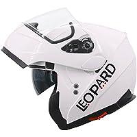 Leopard LEO-838 Cascos Modulares de Moto Motocicleta ECE 22-05 Aprobado Doble Visera - Blanco L (59-60cm)