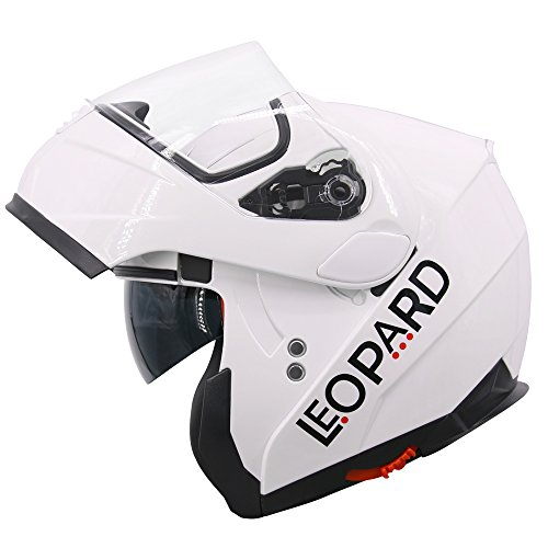 Leopard LEO-838 Motorcycle Modular Helmets Motorcycle Double Visor ECE 22-05 Approved - White XL (61-62cm)
