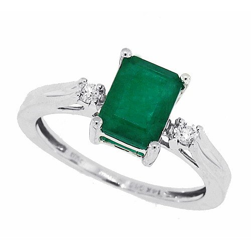 1.39ct Three Stone Emerald Ring with Diamonds,14Kt White Gold (A Quality)