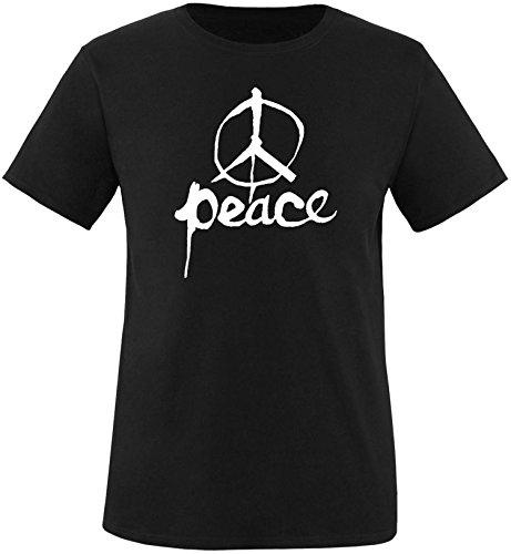 EZYshirt Peace Herren Rundhals T-Shirt Schwarz/Weiss