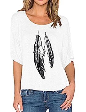 ZKOO Mujeres Casual Pluma Impreso Suelto Cuello Redondo Tops T-Shirt Cuello Redondo Blusa