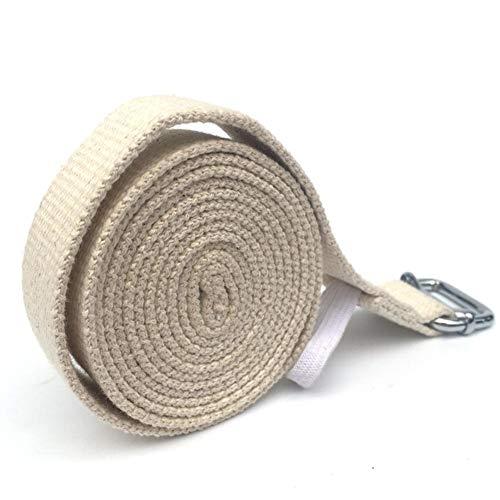 Strapazierfähiger Übungsgurt aus Baumwolle Einstellbare D-Ring-Schnalle Flexibilität für Yoga 3 Meter Iyengar Yoga-Stretch-Gürtel Verlängerte natürliche Baumwollverdickung Schnürung mit offener
