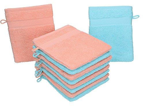 BETZ Lot de 10 gants de toilette PALERMO 100% coton taille 16x21 cm couleur: turquoise & abricot