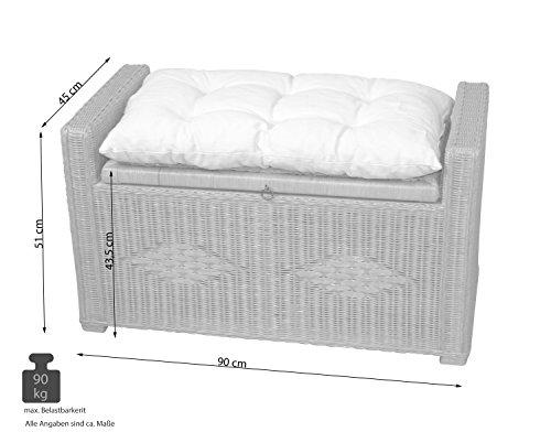 Rattansitztruhe mit Sitzkissen, 90x45x51cm - 2