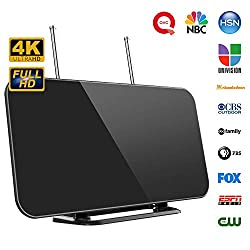 [Newest]TV Aerial, Indoor Digital TV Antenna with Stand 50-80 Mile Range Freeview Amplified HD TV Aerial Support 4K 1080P HD/ UHF/ VHF/ FM Freeview Channel for All Type Built-in Tuner Smart Television