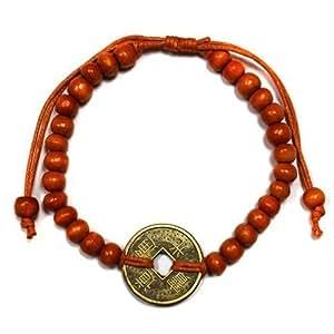 Arancione Bali Buona fortuna Feng-Shui Braccialetto con Cinese Talismano moneta di fortuna & fortuna