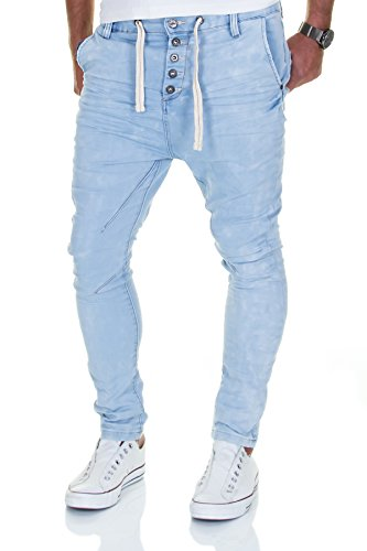 Jogg Jeans Herren Hose Urban Surface Joggjeans Denim Slim Fit Chino Sweatpants Jogger Sweathose (W33/L32, Hellblau)
