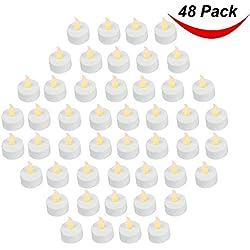 Paquete de 48 REALISTA y brillante de pilas Parpadeante sin llama vela pequeña LED Velas, 3.5cmx4.2cm alto, Eléctrico FALSO Vela con Baterías INCLUIDO - AMARILLO - Bargain OUTLET