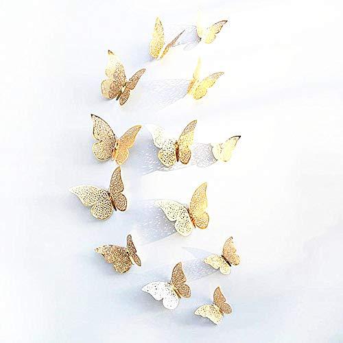 New 12Gold 3D Schmetterling Wand Aufkleber art Aufkleber Zuhause Zimmer Dekorationen Decor (Gold-3) -