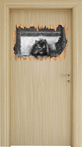 schwarze Katze schleicht durch Hundeklappe schwarz/weiß Holzdurchbruch im 3D-Look , Wand- oder Türaufkleber Format: 62x42cm, Wandsticker, Wandtattoo, Wanddekoration
