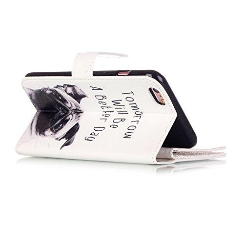 iPhone 8 Hülle, iPhone 8 Case, iPhone 8 Leder Wallet Tasche Brieftasche Schutzhülle, Sunroyal Malerei Rose Muster PU Lederhülle Flip Hülle mit Stand Ständer Etui 9 Karten Slot Kartenfach Kartenfächer  A07
