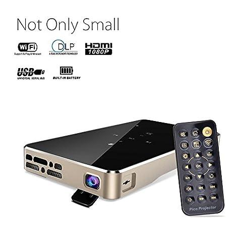 Binrrio Pico Projector Ultra-Thin 1080P HD Home Theater Mini Portable Wifi Smart DLP Projector,Built-In Speaker,Tripod & Remote Included (Black &