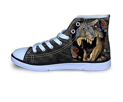 Mens Boys School Casual Shoes Canvas Hi Top Plimsolls Comfy Walking Sneakers Dinosaur UK 7.5 J Renee High Heel Heels