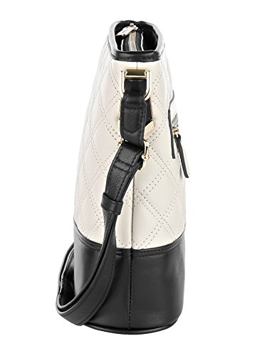 Picard Damen Umhängetasche aus Leder mit edler Steppung Creme-Schwarz