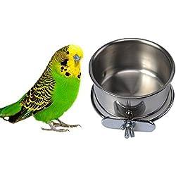 kamoku101Gamelle en acier inoxydable, pour oiseaux, eau Gamelle à suspendre pour Parrot Aras African Greys perruches calopsittes perruches Love Birds Finch colombe Cage