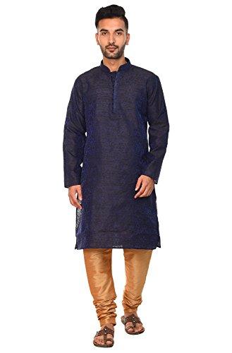 SKAVIJ Kurta Pyjama Männer indische Langarm-Hemd schwarz Designer traditionellen Freizeitkleidung Outfit -m