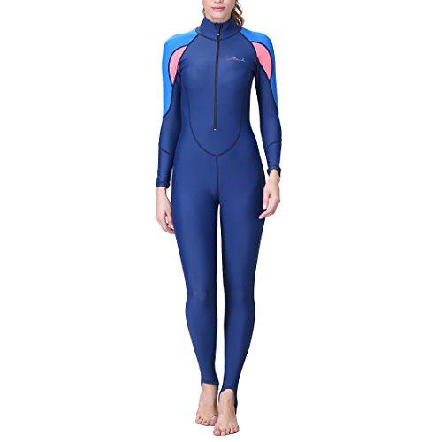 Inlefen Männer Frauen One Piece voller Körper Abdeckung dünne Neoprenanzug, UV-Schutz Lange Ärmel Sport Dive Skin Suit - perfekt für Schwimmen/Tauchen/Schnorcheln/Surfen