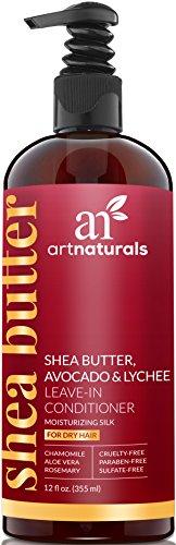 ArtNaturals Shea-Butter Leave In Conditioner - (12 Fl Oz / 355ml) - Haar-Creme mit Avocado und Litschi - Intensiv Haarkur für Trockenes und Geschädigtes Haar - Sulfat Frei