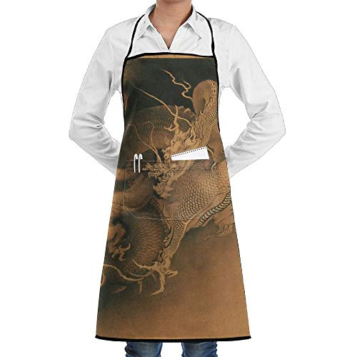 Dragon Kostüm Adult Lady - Japanese Two Dragons In Clouds Schürze Lace Adult Mens Womens Chef Adjustable Polyester Long Full Black Cooking Kitchen Schürzes Bib With Pockets For Restaurant Baking Crafting Gardening BBQ Grill