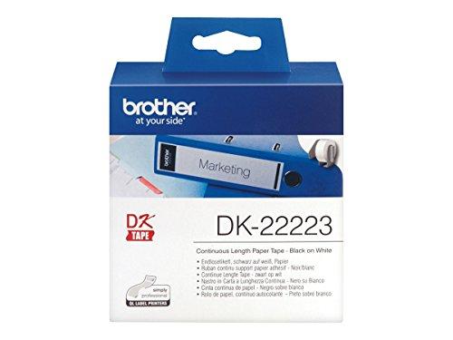 Brother DK-22223 - Etiquetas continuas, color negro y blanco