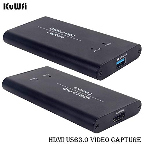 HDMI Game Capture Karte, KuWFi Video Capture Device Card HDMI zu USB3.0 HD-Videokonverter Spiel-Streaming Live-Stream-Übertragung 1080P OBS / Vmix / Wirecast / Skype -