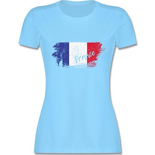Fußball-Weltmeisterschaft 2018 - Frankreich Vintage - S - Hellblau - L191 - Damen T-Shirt Rundhals