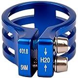 Ckeyin® 31.8mm Seatpost Abrazadera Tija de Sillín de Aleación de Aluminio con Doble Tornillo Accesorios de Bicicleta (Azul)