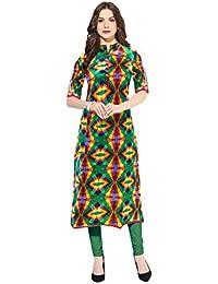 1 Stop Fashion Women's Multi-Coloured Cotton Straight Kurti