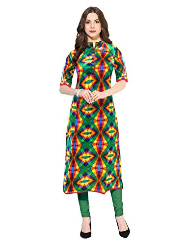 1 Stop Fashion Multi-Coloured Straight Cotton Kurti (X-Large)