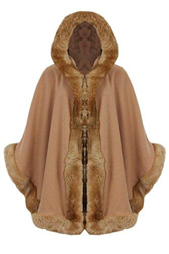 Fast Fashion - Cardigan Manches ¾ Célébrités Inspirés Fur Faux L'assiette Cape Poncho Cagoulés - Femmes Camel