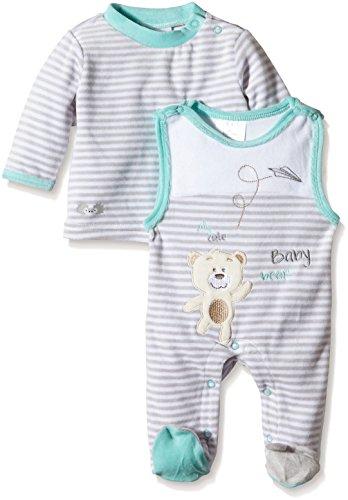 Twins Unisex Baby Ringel-Strampler mit Bärchen-Motiv im Set mit Ringel-Shirt, Gr. 50, Mehrfarbig (Weiss/Hellgrau 3205)