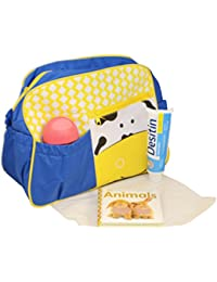 Home Hacks Blue/Yellow Mama's Bag, Baby Carrier Bag, Diaper Bag, Travelling Bag With Changing Mat